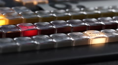 Lights of Buttons of Console Broadcasting TV Stock Footage