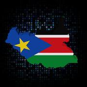 South Sudan map flag on hex code illustration - stock illustration