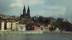 A view of Prague's castle Visehrad and the Vltava river on a winter day. - stock footage