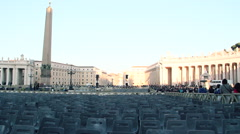 Saint peter square seat preparation for papal audience, panoramic camera Stock Footage