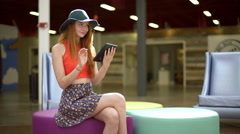 Young American hipster girls meeting shopping mall USA Stock Footage