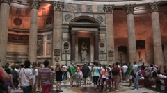 A myriad of tourists inside the pantheon Stock Footage
