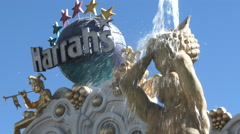 Harrahs Las Vegas Sign And Fountain Stock Footage