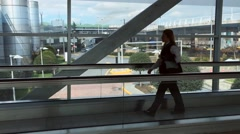 Time Lapse of Travelator With Window and Outdoors Infrastructure on the Stock Footage