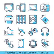 Multimedia and electronics icons set lines blue vector illustration - stock illustration