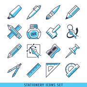 Stationery icons set lines blue vector illustration - stock illustration