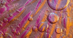 Color drops floating in oil and water with oil painting effect. - stock footage