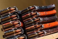 ammo for machine guns with loaded magazines - stock photo