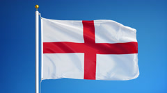 England flag in slow motion seamlessly looped with alpha Stock Footage
