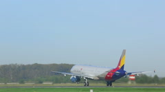 Airbus 321 taking off from Tolmachevo airport Stock Footage