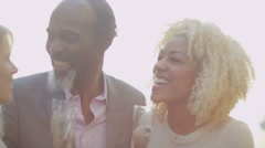 4K 2 generations of happy mixed race family drinking champagne outdoors - stock footage
