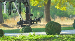 The shoot a scene with a crane on a rail. Real time capture Stock Footage