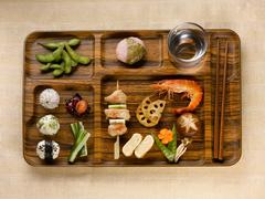 Close up of tray of food Stock Photos