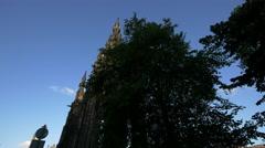 The Scott Monument seen from Princes Street Gardens, Edinburgh Stock Footage