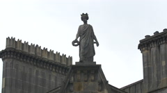 Statue of a woman with crown holding a wreath, Edinburgh - stock footage