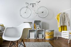 Original small hipster's room - stock photo