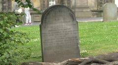 Old tombstone at Greyfriars Kirkyard in Edinburgh Stock Footage