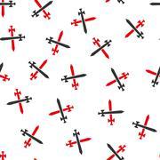 Medieval Swords Flat Vector Seamless Pattern - stock illustration