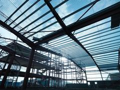 Low angle view of steel construction frame on building site Stock Photos