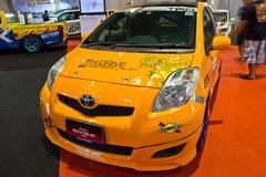 Toyota Yaris show at the second Bangkok international auto salon 2013 Stock Photos
