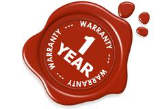 One year warranty seal isolated on white background Stock Illustration