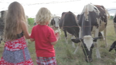Family Feeding Cows In Pasture Stock Footage