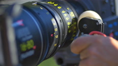 The camera with auto focus for shot the film. Real time capture Stock Footage