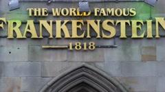 Top of the entry of Frankenstein House on George IV Bridge street, Edinburgh - stock footage