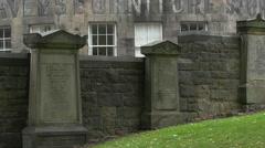 Tombstones at Greyfriars Kirkyard in Edinburgh Stock Footage