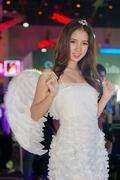 Stock Photo of An unidentified Presenter pose in Thailand Game Show BIG Festival 2013