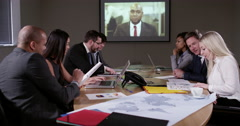 4k Multi-ethnic business team presenting proposals at video conference meeting. Stock Footage