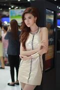 An Unidentified female presenter pose in Bangkok International Motor Show Stock Photos