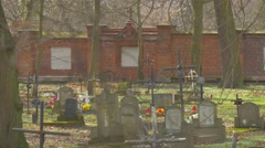 Old Catholic Cemetery Burial Place Sunny Day Tombstones With Inscriptions Stock Footage