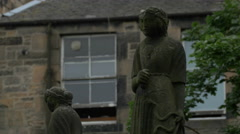 Two old statues in Edinburgh Stock Footage