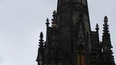 Tower and spires of an old church on Royal MIle, Edinburgh - stock footage