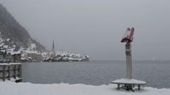 Binocular on the shore of Hallstatter See on a winter day in Hallstatt - stock footage