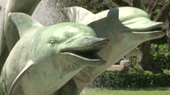 The dolphin statues Stock Footage
