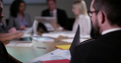 4k business people in a board room meeting. Slow motion. Stock Footage