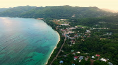 Aerial panorama of Anse Royale tropical coast on Mahe Island, Seychelles. Stock Footage