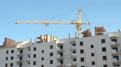 Construction of the apartment houses. Crane works Stock Footage