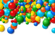 Background frame with scattered messy glowing rubber balls - stock illustration
