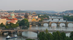 Aerial view to the Prague bridges and Vltava river, Czech Republic Stock Footage