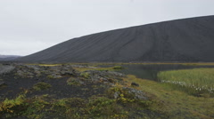 Hverfjall volcanic crater - Iceland volcano nature landscape - stock footage