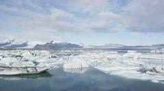 Jokulsarlon glacial lagoon lake in Iceland nature - Amazing Icelandic landscape Stock Footage