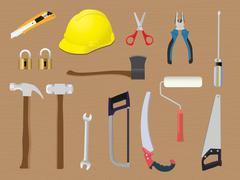 home tools diy toolbox renovation construction vector - stock illustration