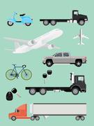 Stock Illustration of transportation collection truck suv plane airplane trailer motor and bike