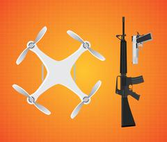 Drone with gun firearms mounted m16 and pistol vector Piirros