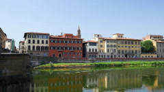 Cityscape over Arno River, in Florence, Italy - stock footage