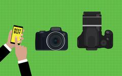 choose and buy the best camera slr - stock illustration