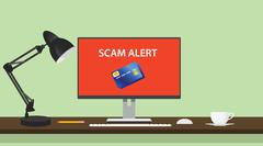 Spam alert and danger illustration with computer credit card Stock Illustration